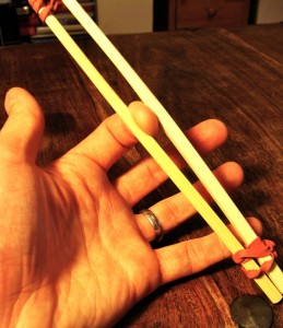 BDSM Chopstick Nipple Clamp - Testing out